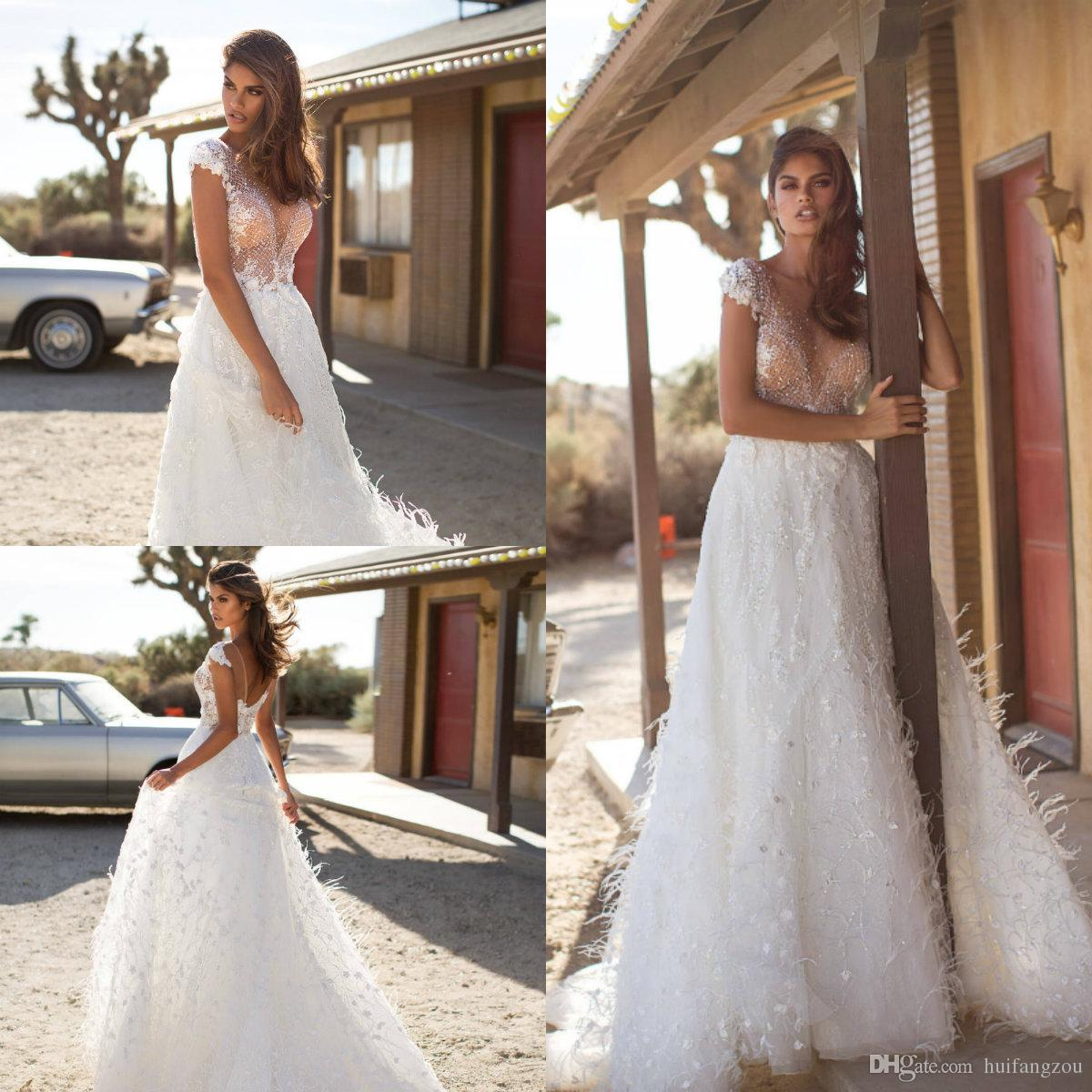 7a5ca5f1 Discount 2019 Gorgeous A Line Wedding Dresses Sheer Neck Lace Applique  Sequins Illusion Boho Wedding Dress Milla Nova Feathers Designer Bridal  Gowns Long ...