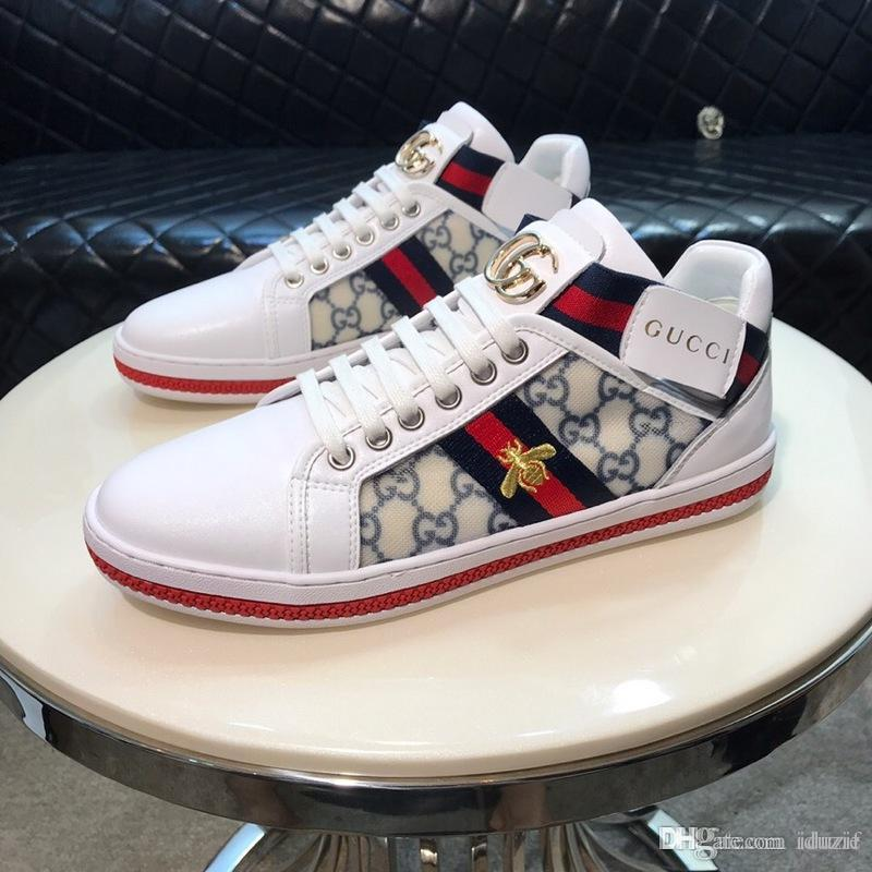 2020 Italy Mens designer luxury shoes Casual Shoes white women sneakers good embroidery bee cock tiger dog fruit on the side with OG box