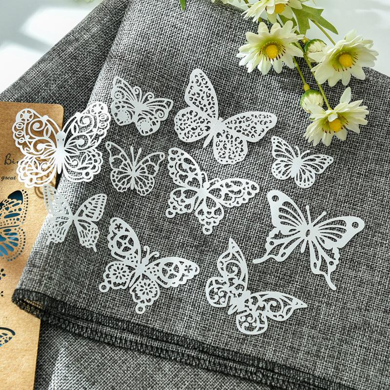 Scrapbooking Stamping Craft Paper YPP CRAFT 10pcs White Lace Butterflies For DIY Scrapbooking/Card Making/Kids Fun Decoration Supplies