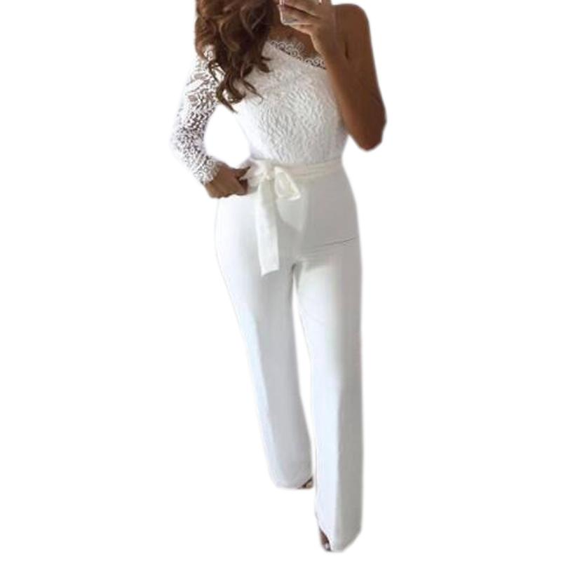 0b270099b4b 2019 One Shoulder Lace Long Sleeve Sexy Women Jumpsuits Femme Sashes Hight  Waisted Pants Overall Hollow Out Zipper White Romper M0136 From Jincaile02