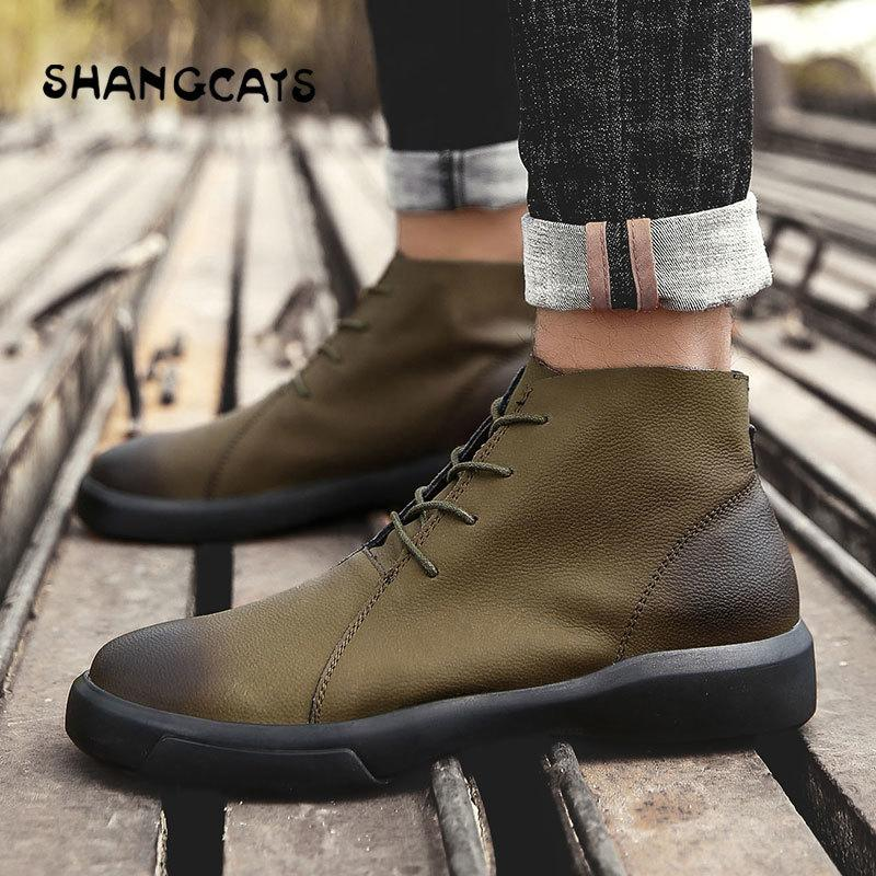 bd0c0f5debb1 Winter Shoes For Men Vulcanized Shoes High Top Fashion Trend 2018 High  Quality Buty Meskie Retro Winter Footwear Big Size 47 48 Geox Shoes Cheap Shoes  For ...