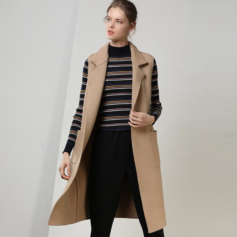 1de6870abc2 2019 2018 Autumn And Winter Women S Long Sleeveless Cardigan Loose Solid  Color Suit Collar Wool Vest Sweater Women S Jacket From Cyril03
