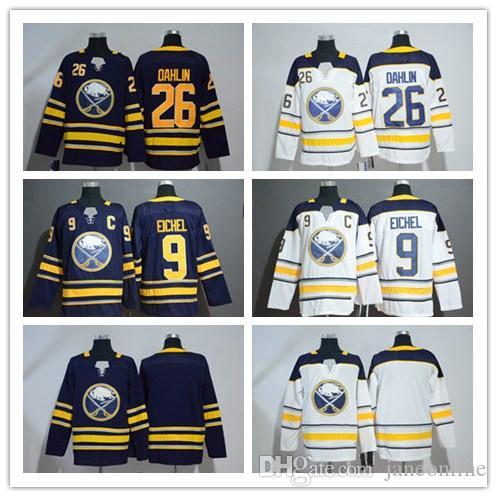 huge selection of c767e 10b2b 2019 New 9 Jack Eichel Jersey With Captain Patch 26 Rasmus Dahlin Buffalo  Sabres Jerseys Navy White Blank Stitched Hockey Jerseys