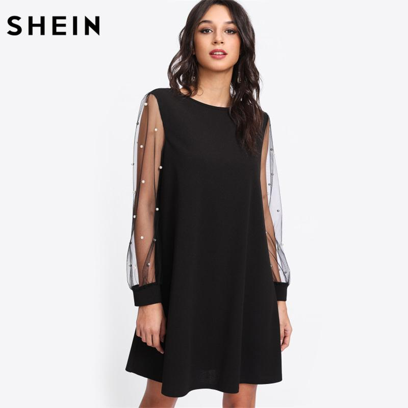 b6e7ef8e94 Shein Elegant Womens Dresses Pearl Beading Mesh Sleeve Tunic Dress Autumn  Black Boat Neck Long Sleeve A Line Dress Q190328 Dresses Party Cocktail  Black ...