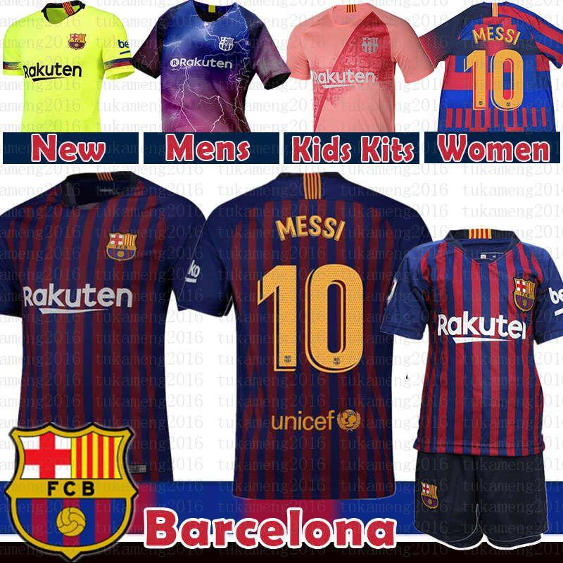 761ebdd3c0646d 10 Messi Barcelona Soccer Jersey 2019 Homens Mulheres Crianças kits 8  Iniesta 9 Suárez 26 MALCOM 11 Dembele 14 7 Coutinho uniformes de Futebol ...