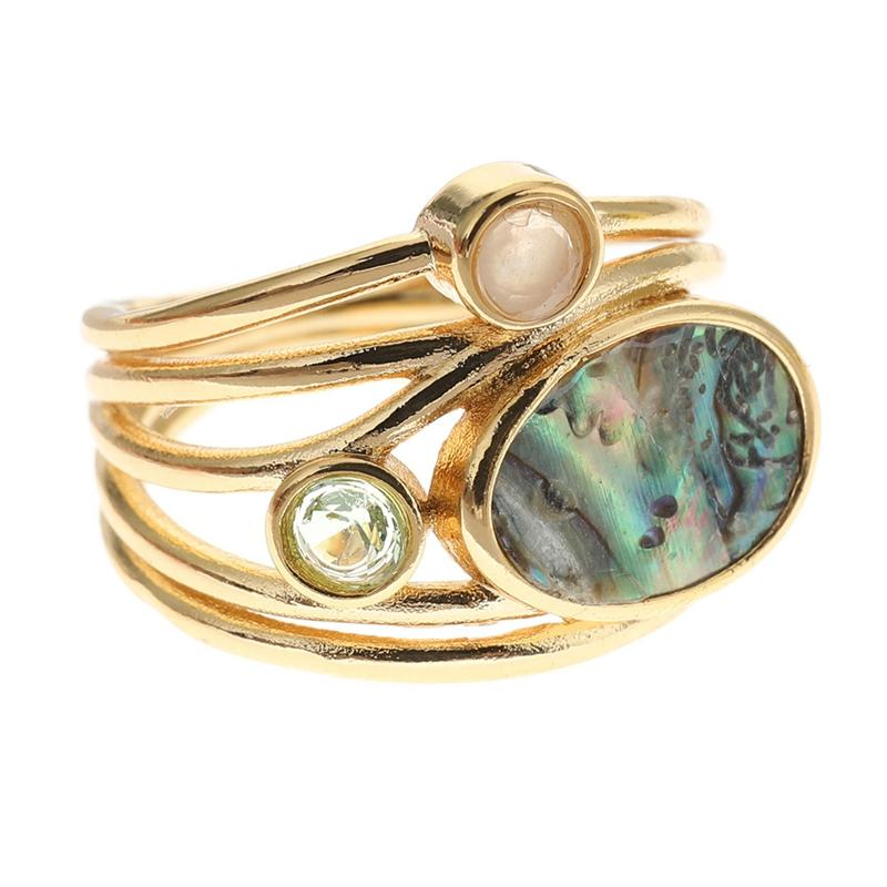 Vintage Antique Colorful Oval Shell Finger Ring Band Ring For Women Female Statement Boho Beach Jewlery Gift