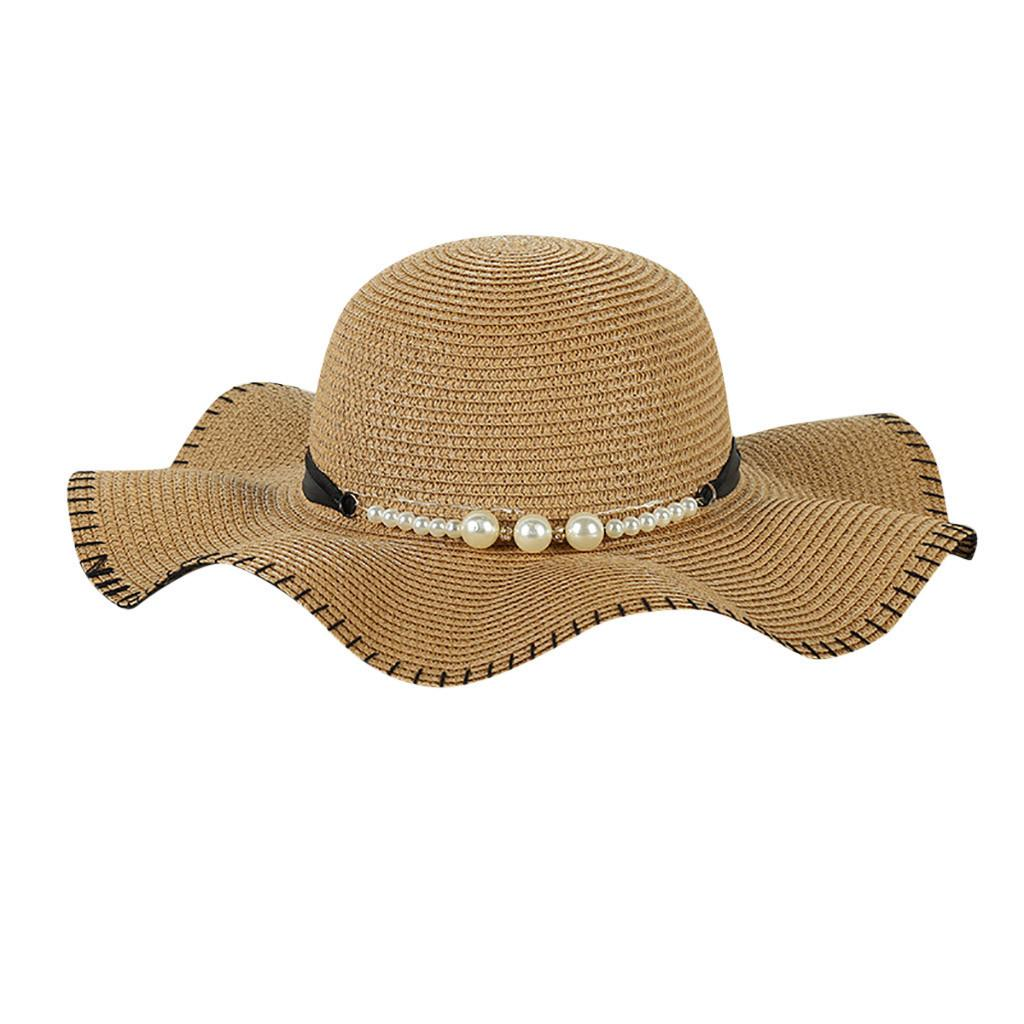 e9b163c5 Summer Women Big Wide Brim Straw Hats Pearl Decoration Beach Sun Foldable  Caps Outdoor Holiday Sun Protection Hats Collapsible Cool Hats Panama Hats  From ...