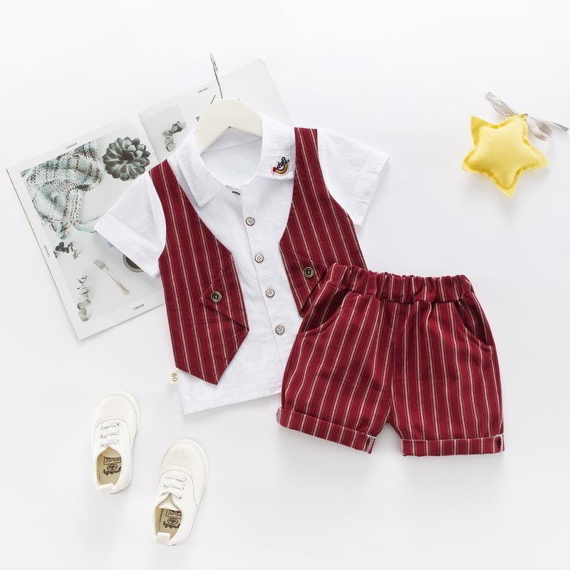 ff02526904363 Acheter 2019 Nouvel Été Enfants Garçons Vêtements De Coton Kid Lapel Faux  Gilet T Shirt Shorts   Set Enfant En Bas Âge Vêtements Bébé Survêtements De   7.55 ...
