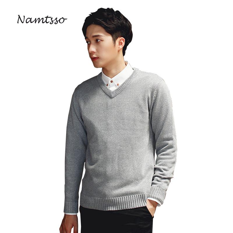 0895c7c93a4abb 2019 100% Cotton Men Winter Thick Sweater V Neck Long Sleeve Sweater  Knitwear Pull Brand Base Top Clothing 305 From Piterr, $42.05 | DHgate.Com