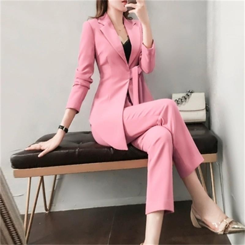 cbe99d8c883264 Pantalons de mode costumes femme printemps nouvelle grande taille haut de  gamme tempérament rose irrégulier petit costume pantalon deux pièces ...