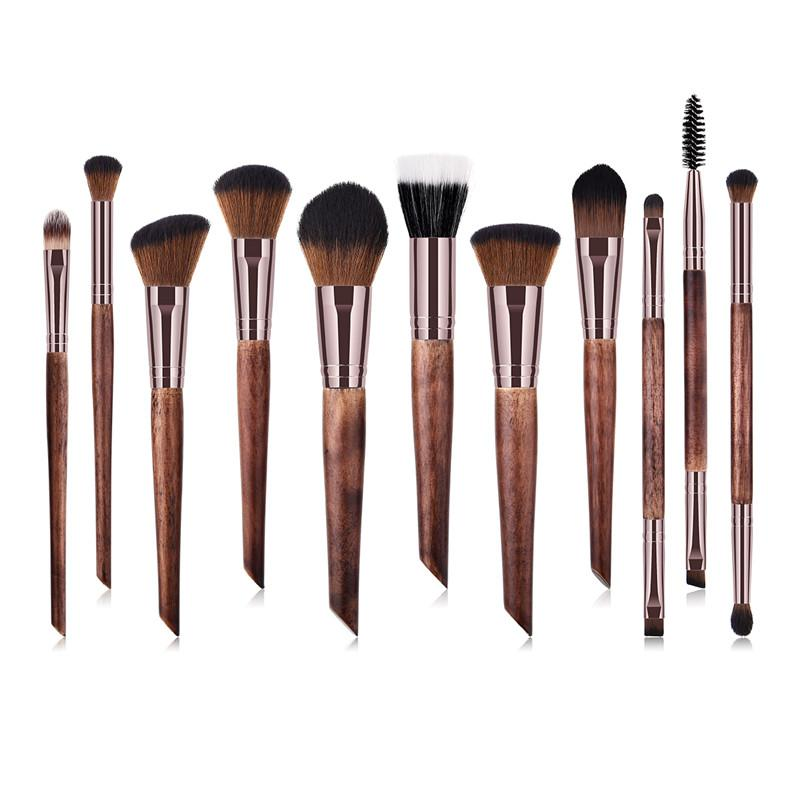 7c1c2e533a49 11pcs Coffee Makeup Brushes Premium Makeup Brush Set Professional Luxury  Wood Handle Powder Blending Brush Cosmetics Tools