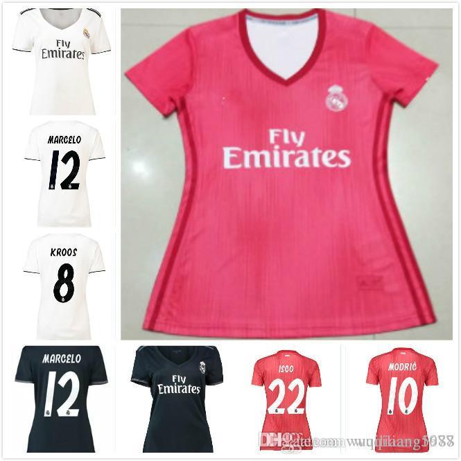 9abe544cc8 2019 New Women Real Madrid 18 19 Soccer Jersey RONALDO Football Shirt BALE  RAMOS KROOS BENZEMA LUCAS Camiseta 2018 2019 Real Madrid Girl Maillot From  ...