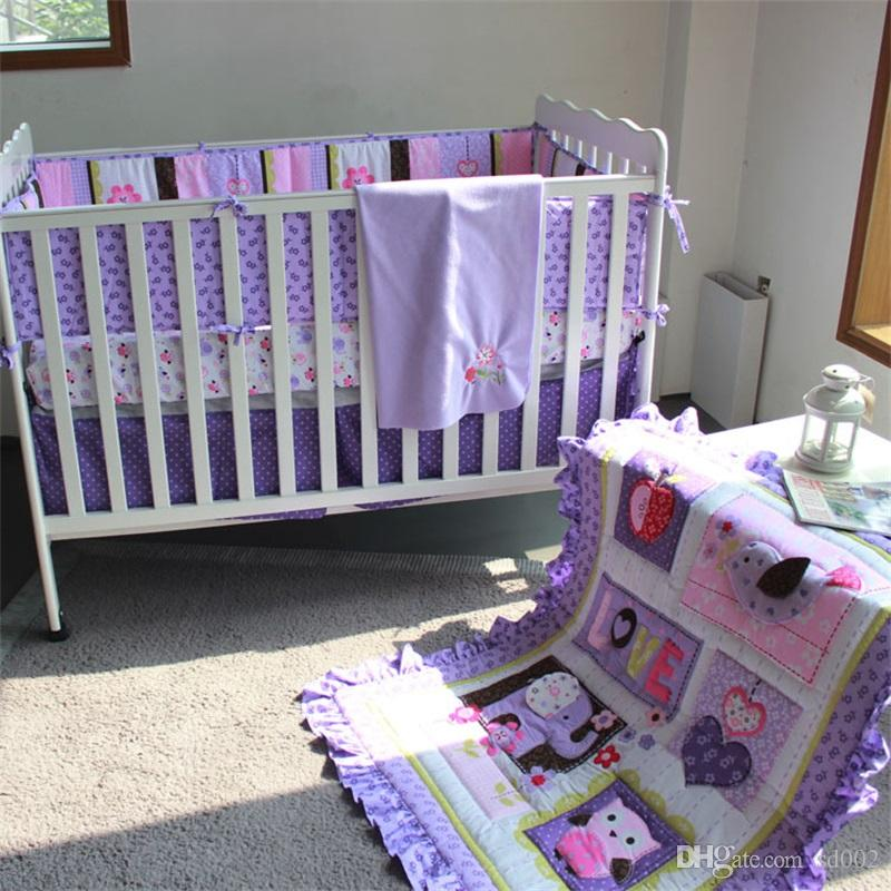 3d Embroidery Baby Crib Bedding Sets Purple Color 5pcs One Kit Animal Flowers Children Bed Suit 247dhE1