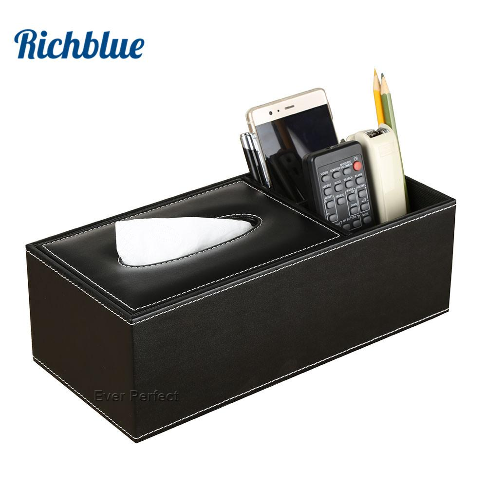 PU Leather Rectangle Square Shorter Tissue Box Pen Remote Storage Desk Organizer Paper Napkin Towel Holder Dispenser Cover Cases