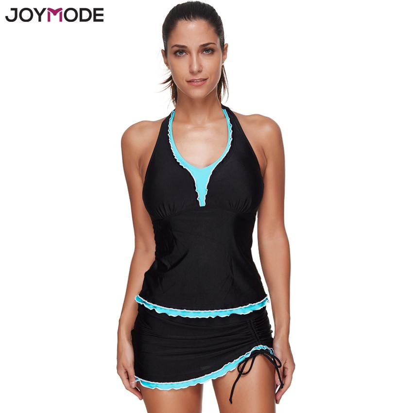 7ffe8701cea11 2019 Joymode Black Quality Two Pieces Swimsuit Swimwear Skirt Women ...
