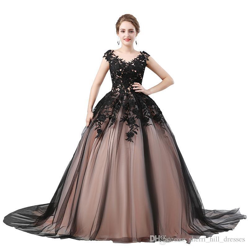 d2aceedce Compre Elegantes Vestidos Negros Cuello En V Con Apliques Gorro Mangas  Vestido De Fiesta Largo De Tul Vestidos De Noche Formales Para Mujeres  Vestidos De ...