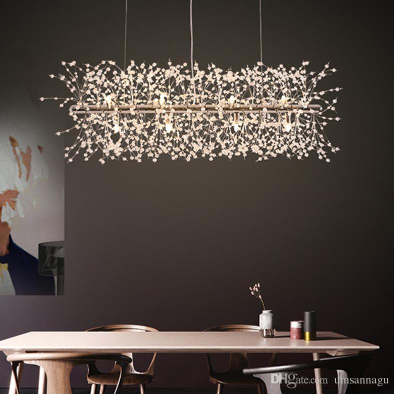 Led Modern Crystal Pendant Lights Fixture European Romantic Flower Dandelion Hanging Lamps Shopping Mall Hotel Dining Room Indoor Lighting