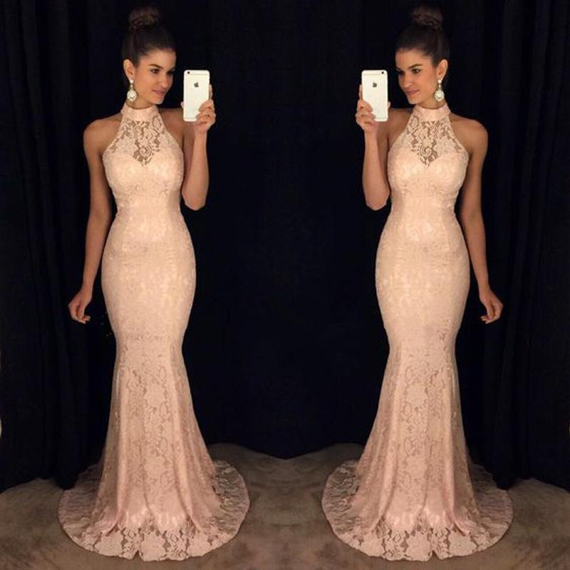 6f0157ccd1 Vintage 2019 Champagne Mermaid Prom Dress Sheer High Collar Cutouts  Backless High Neck Evening Dress With Sequined Appliques Custom Prom Dress  Design A Prom ...