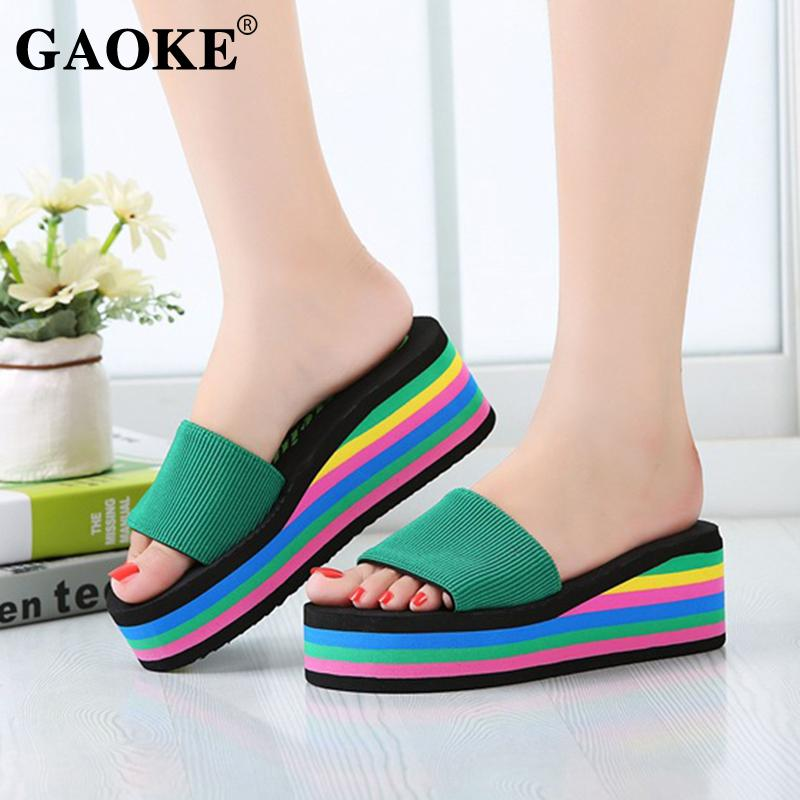 e7f6e1db1105bc 2018 Summer Woman Shoes Woman Sandal Slippers Platform Bath Slippers Wedge  Beach Flip Flops High Heel Beach Slide Shoes Mid Calf Boots Leather Boots  For ...