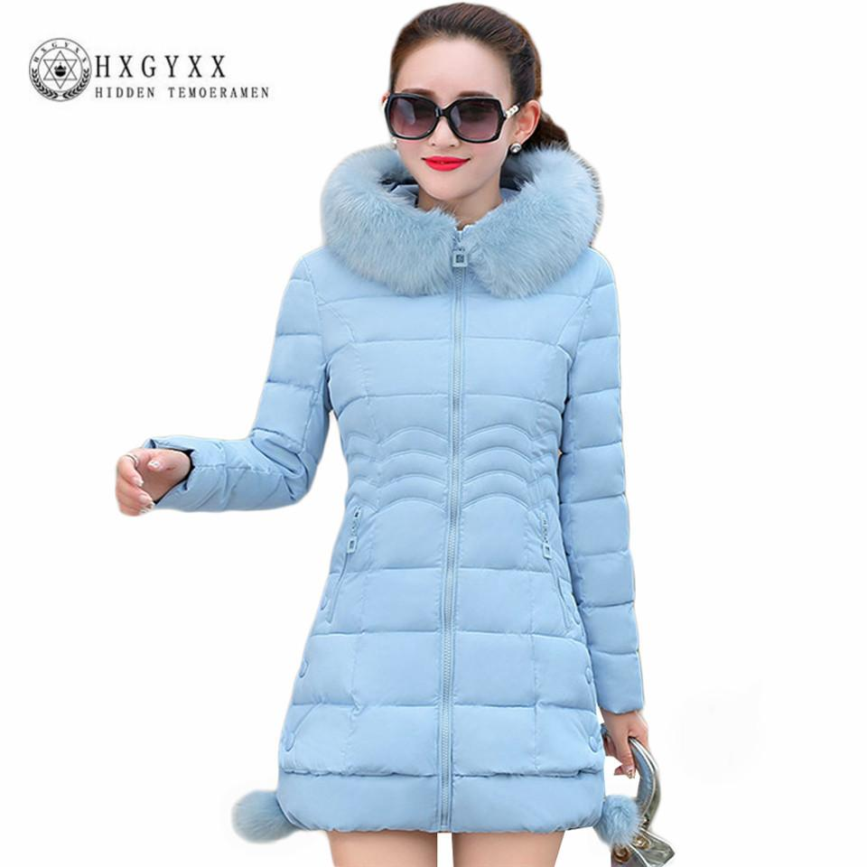 c6a7552b8 Women s Thick Warm Long Winter Jacket Female Parkas 2018 Faux Fur Collar  Hooded Cotton Padded Wadded Outerwear Snow Coat oka529
