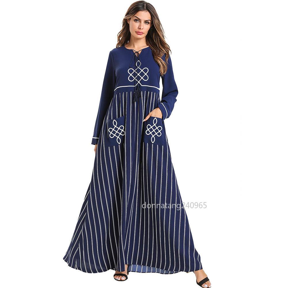 35230de8ddcc3 Women Abaya Dubai Turkey Bangladesh Islamic Clothing Plus Size Kaftan  Arabic Embroidery Blue Long Robe Muslim Maxi Dress 2019