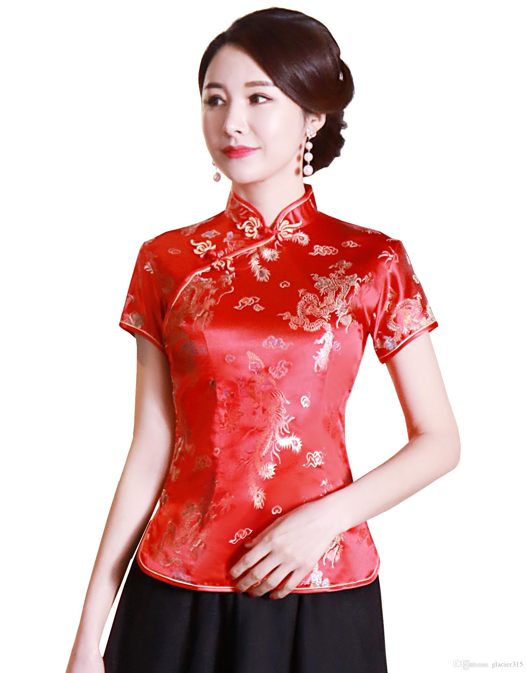 c125b714e1901 2019 Shanghai Story Women S Cheongsam Top Traditional Chinese Blouses Satin  Top Dragon And Phoenix Blouse Top Flower Embroidery Qipao Shirt From  Glacier315