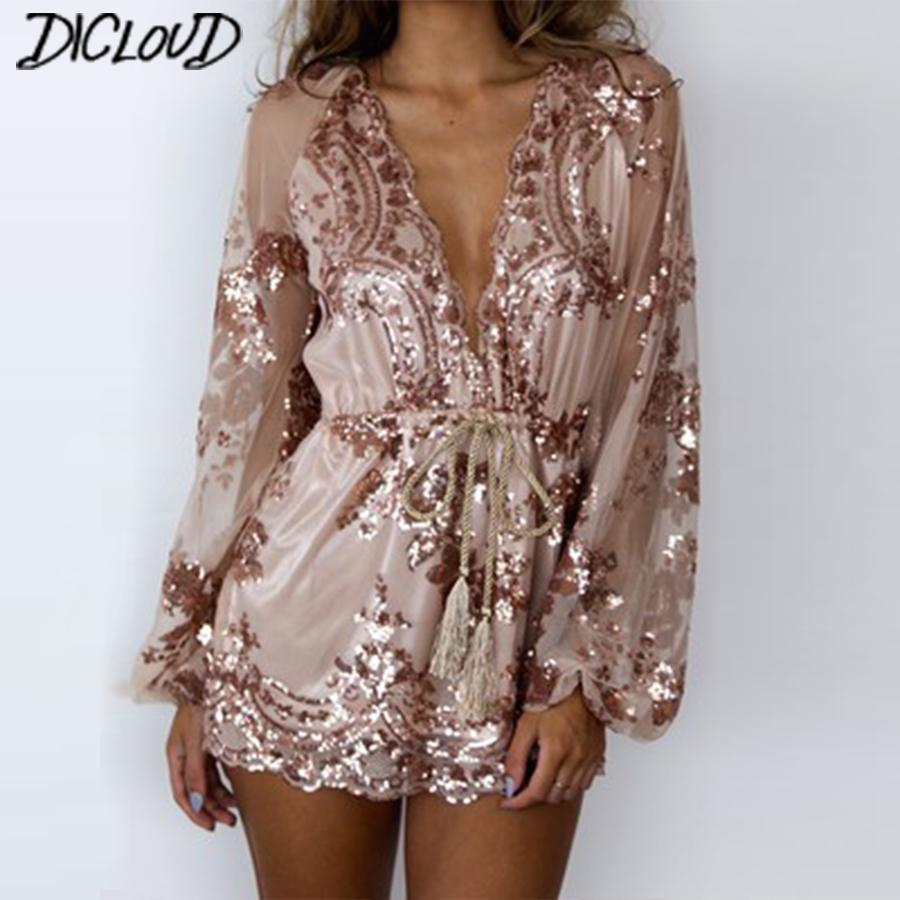 Sexy V-neck Sequins Bodysuit Women 2018 Fashion Loose Mesh Yarn Jumpsuit Female Long-sleeved High Waist Ribbon Flowers Playsuit Y19060501