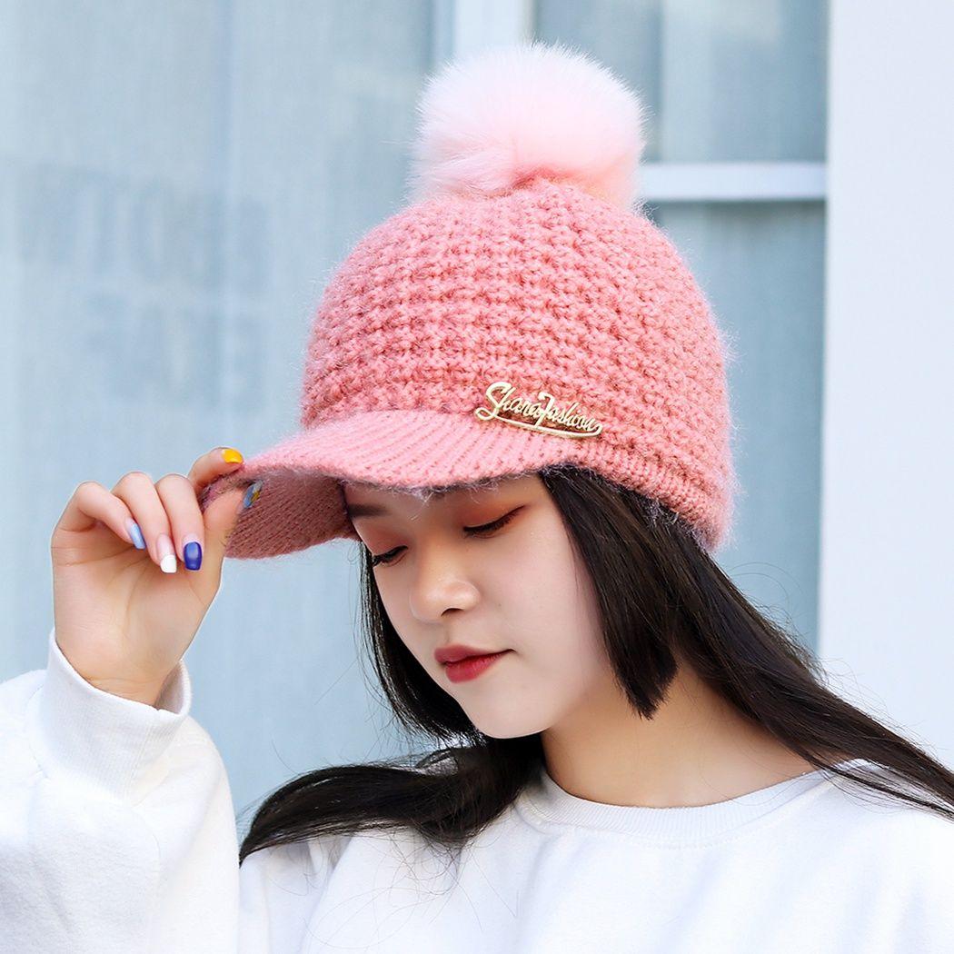 67d5dab9 Women Fashion Hip Hop Pompom Fur Warm Cap Snapback Hat Knitted Baseball Caps  Winter Outdoor Fleece Pom Pom Hats Ladies Bonnet Baseball Hats Newsboy Cap  From ...