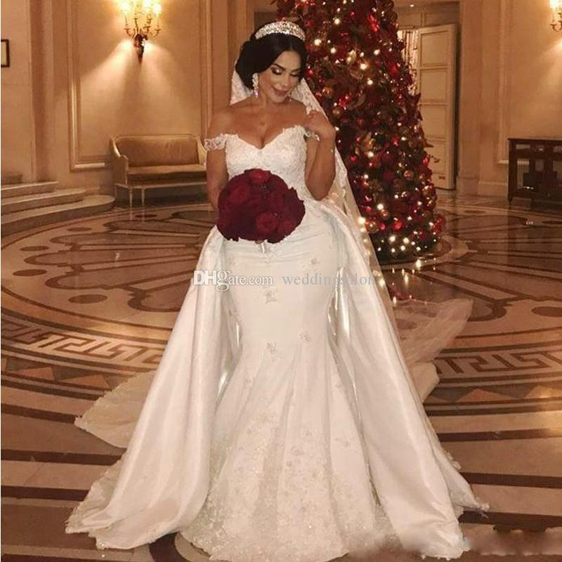 0c07da6b1c8d Luxury Mermaid Wedding Dresses With Detachable Train Off The Shoulder Lace  Appliques Abric Dubai Wedding Gowns Satin Bridal Dress Cheap Bridal Gowns  Cream ...