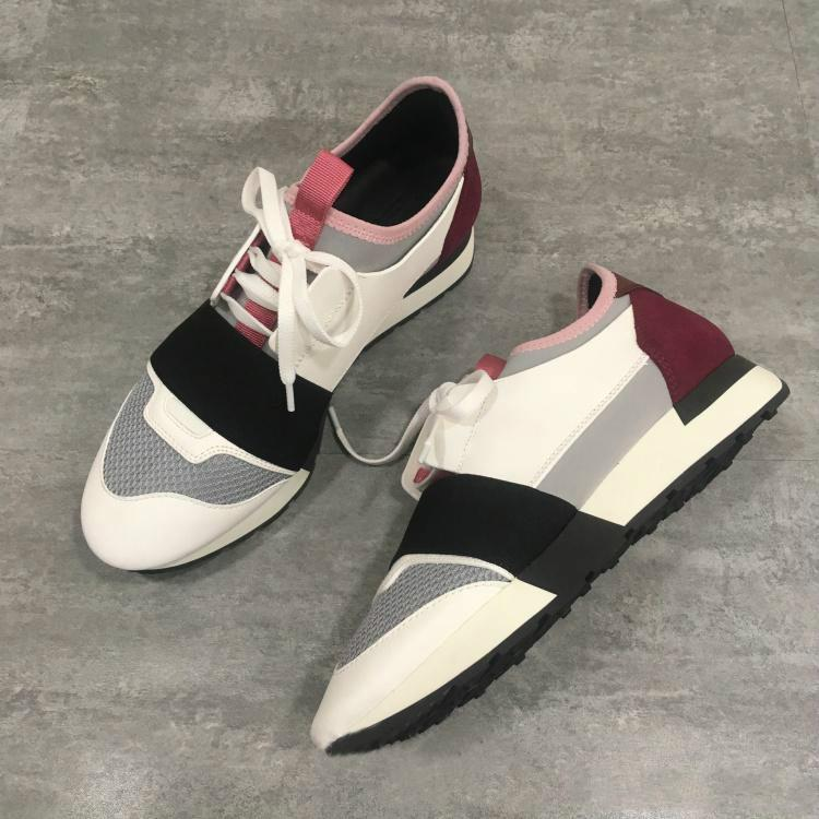 Designer Sneakers Unisex Zapatos Mujer Race Runner Shoes Man Woman Casual Shoes Genuine Leather Mesh pointed toe Trainers With Box US5-12