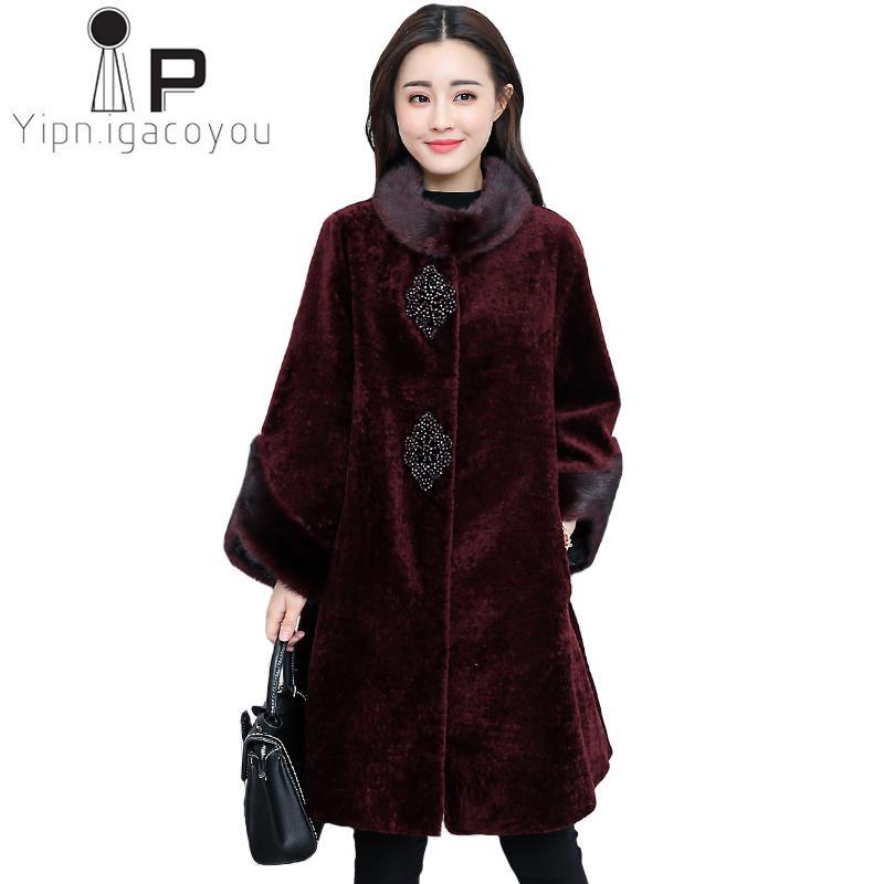 c30aaf7df7 Autumn Winter Faux Fur Coat Women Fox Faux Collar Long Fake Fur ...