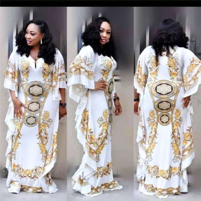 a8981b6884a 2019 African Dresses For Women Dashiki Print Evening Long Dresses Bazin  Riche Women African Clothing White Yellow Robe Wide From Buxue