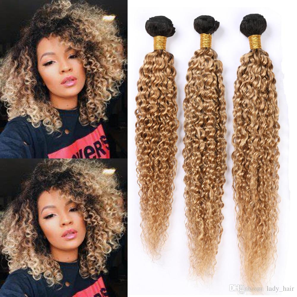 #1B 27 Ombre Curly Human Hair Weave Bundles Honey Blonde Ombre Kinky Curly Brazilian Virgin Hair Extensions Light Brown Ombre Hair Wefts