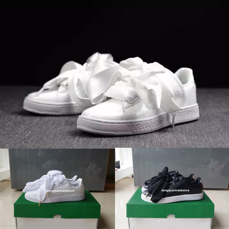 hot sale online 30025 1e13a Free Shipping Bow Tie Rihanna Basket Heart Satin Black White And Pink Board  Shoes Silk Banded Bow Goddess Shoes 36-40