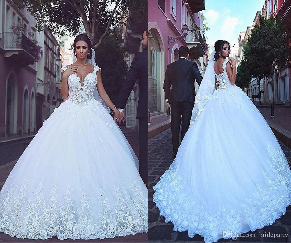 Arabic lace applique wedding dresses straps ball gown tulle