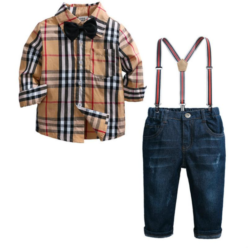 Baby Boy Clothes Autumn Spring Newborn Baby Sets Infant Clothing Gentleman Suit Plaid Shirt + Bow Tie + Suspend Trousers 2pcs Suits epacket