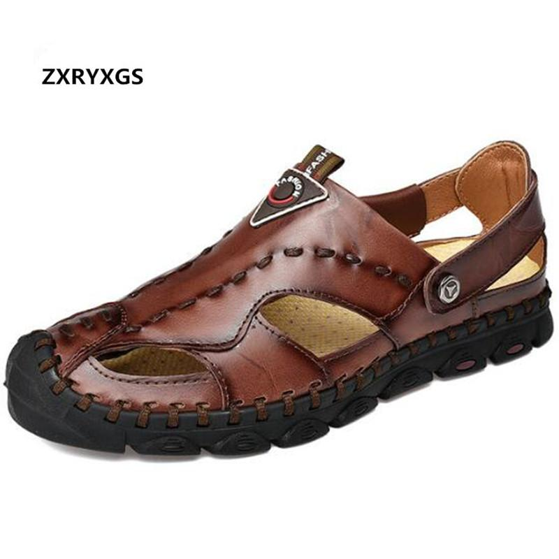cb5d5fb87a38 Large Size Men Sandals Beach Shoes 2019 New Baotou Outdoor Genuine Leather  Sandals Handmade Sewing Casual Shoes Fashion Wedge Sandals Jesus Sandals  From ...
