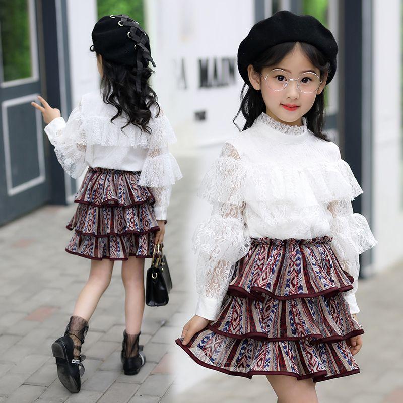 1eacb56fd3f11 2019 new teenage girls clothes white long sleeve blouse lace+dress 2pcs clothing  set big girl dress set vetement enfant fille