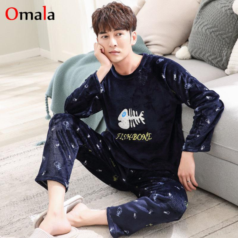 Winter Flannel Pajama Set Men Cartoon Pajamas Long Sleeve Sleepwear Pijama  Hombre Pyjamas Male Sleep Two Piece Set Loungewear Pajama Sets Cheap Pajama  Sets ... a8032a18e