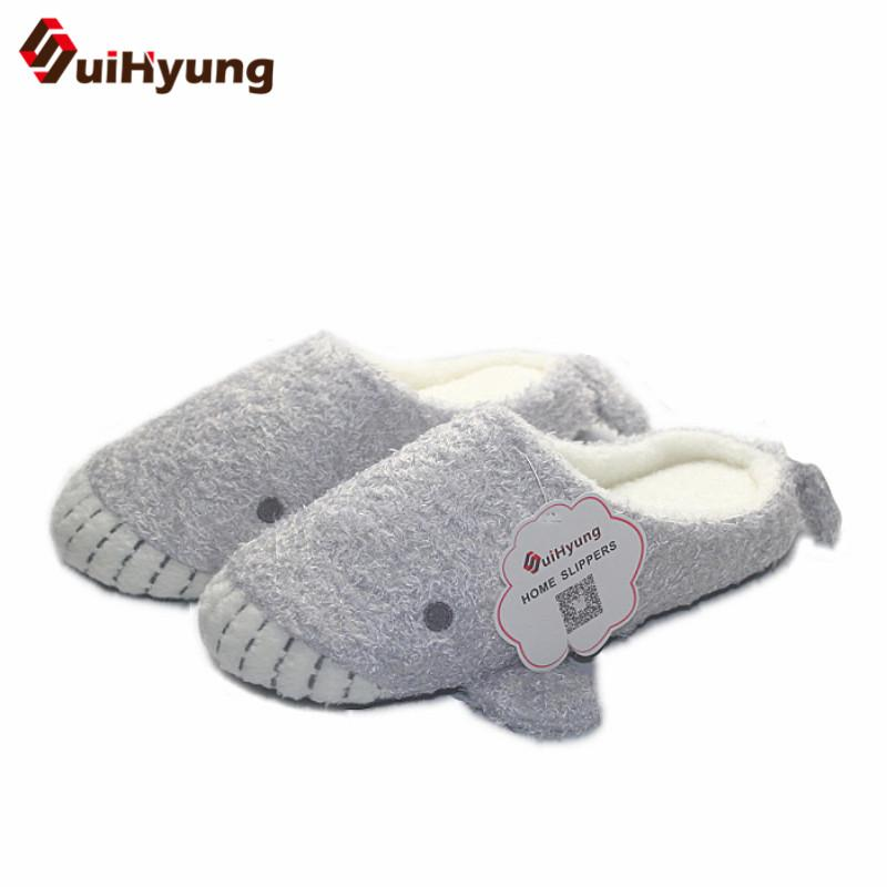 c40880b7957b5 Suihyung New Design Women Thermal Home Slippers Indoor Shoes Plush Whale  Baby Shape Floor Slippers Winter Warm Non-slip Slippers
