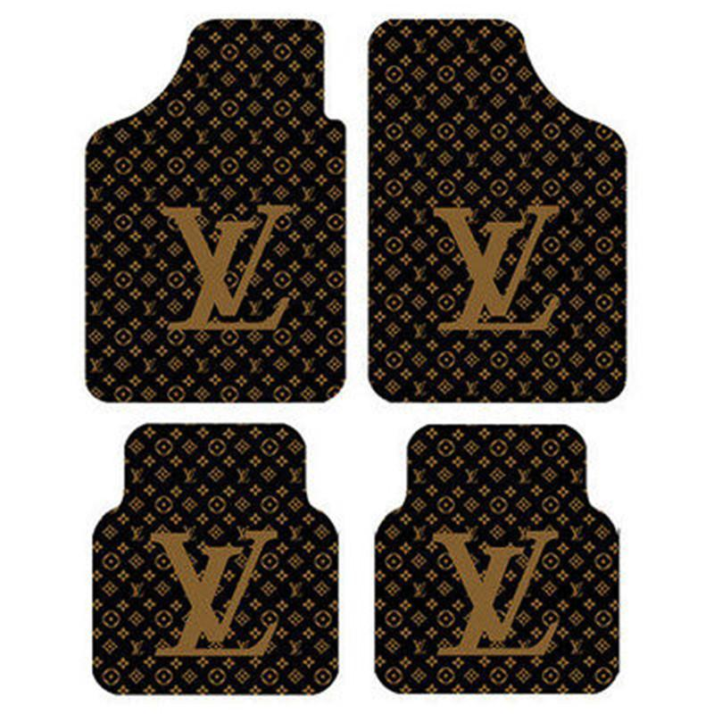 Car Floor Mats Fit For Four Seats Sedan Car Non-slip Mat Fashion L Letter Print SUV Luxurious Cars 4PCS Carpet