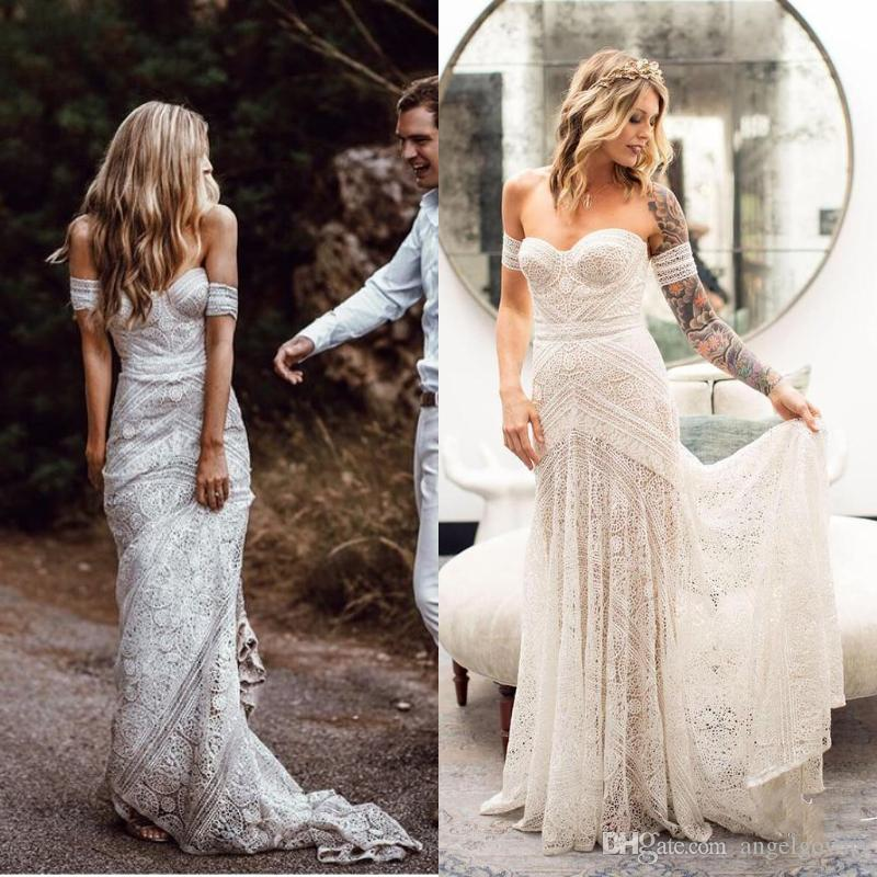 f23e38d9882f8 Hippie Country Style Mermaid Wedding Dresses Full Lace New 2019 Sweetheart Off  The Shoulder Long Bohemian Beach Boho Bridal Wedding Gowns Mermaid Lace  Dress ...