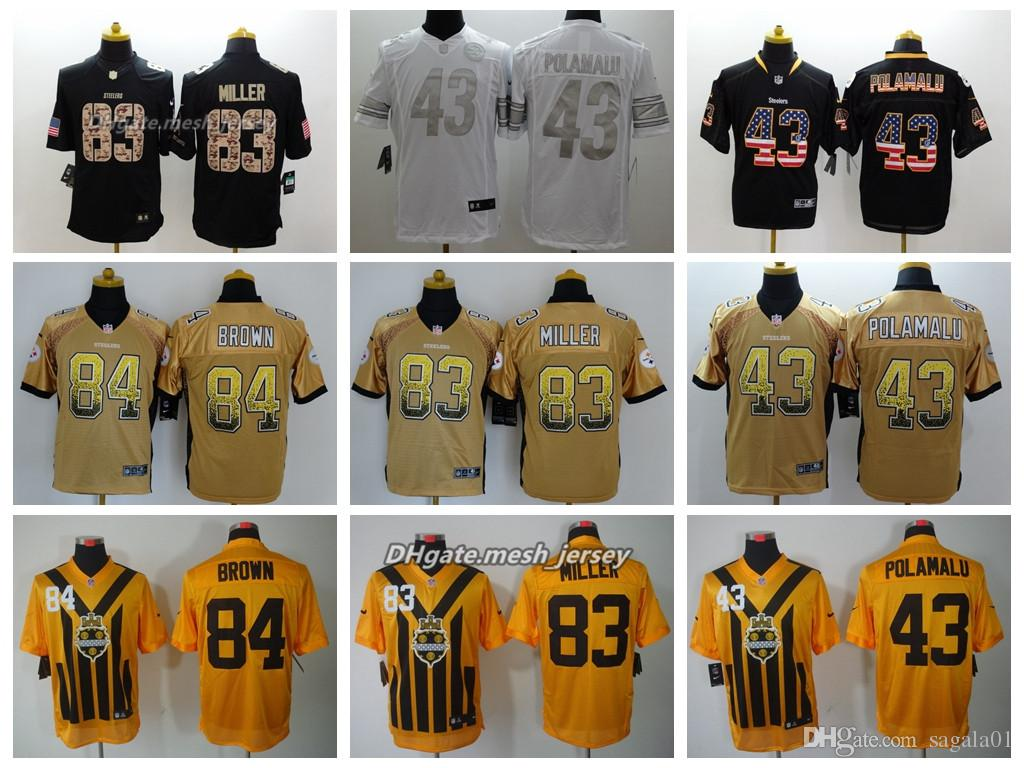 2019 Men Pittsburgh Jersey Steelers 83 Heath Miller 84 Antonio Brown 43  Troy Polamalu Color Rush Football Stitching Jerseys From Top jerseys001 23ae60310e