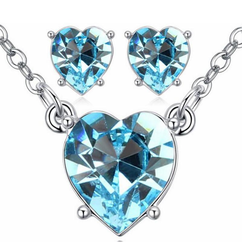 wholesale Crystal from Swarovski Heart Jewelry Sets Necklace Earrings High Quality Fashion Accessories Valentine's Day Gift -25037
