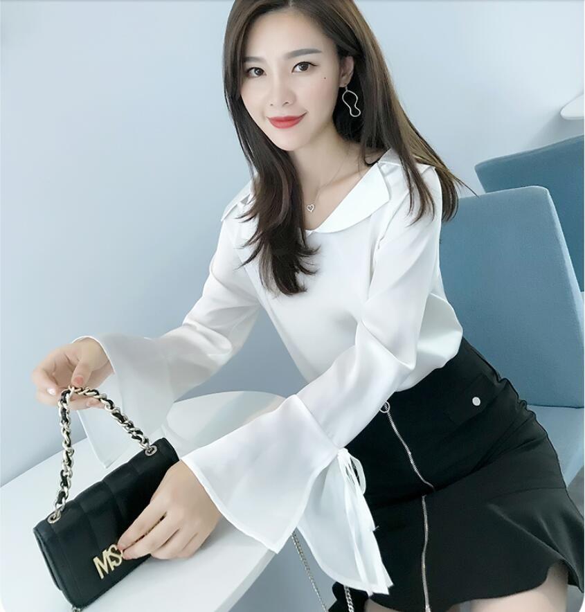 3f1cb7275 2019 Nueva ropa de moda coreana camisa de gasa manga flare falda de manga  larga Festival Top Blusas para mujer