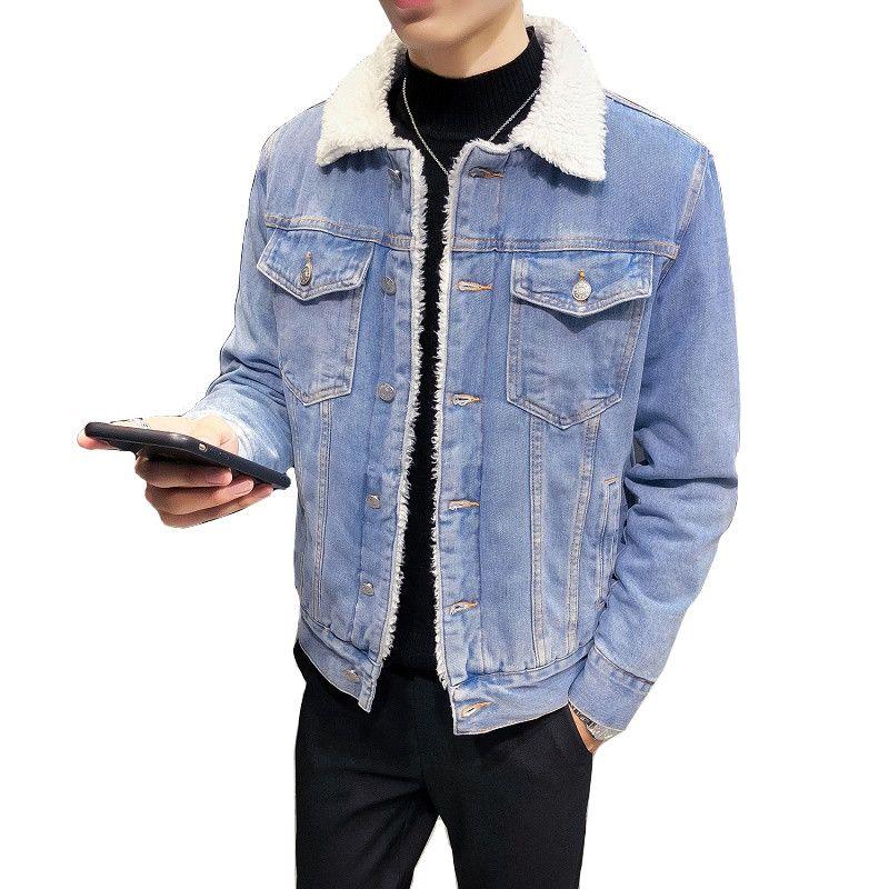 pretty nice be2b3 b6df6 Fodera di lana Solid Casual Giacche di jeans Uomo Giacca invernale 2018  Moda Uomo Jeans Giacche Uomo Cappotto spesso Uomo Caldo Outwear S-6XL