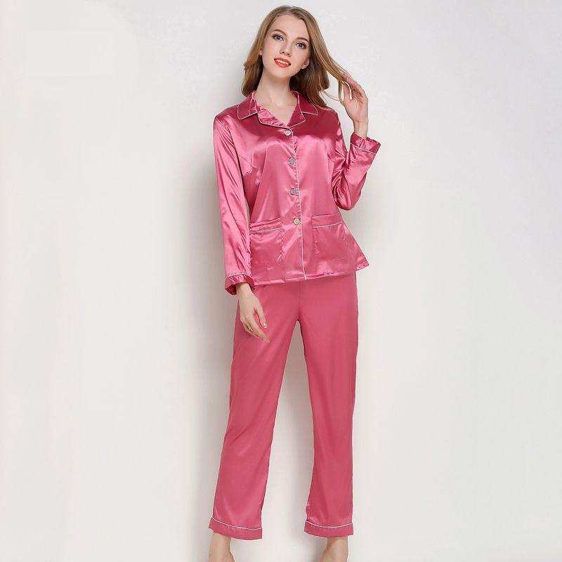 ca8d83027e2 2019 Silk Satin Pajamas Set Women Sexy Long Sleeve Sleepwear Home ...
