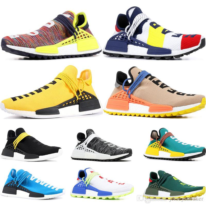 1e8f950ddb8ff 2019 Pharrell Williams Human Race Running Shoes Nerd Black Cream Holi  Trainers Mens Women Sports Runner Sneaker Size 36 47 Best Running Shoes For Men  Shoes ...
