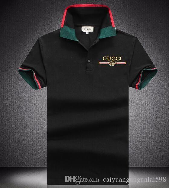 8363953595a G17 M 4XL Summer 18ss Designer Luxury Brand Tag Snake Print Clothing Men  Fabric Letter Polo G T Shirt Collar Casual Men Shirt Tee Shirt Tops Link Shirts  T ...
