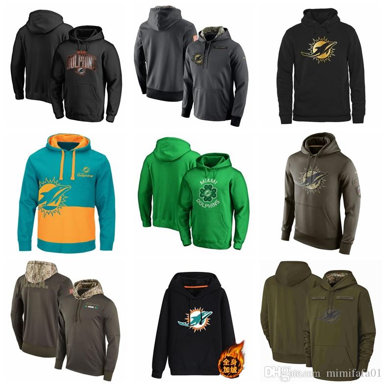 best loved 173a4 53d24 Men's Miami men Dolphins jersey fashion movement Olive Salute to Service  Pullover football Hoodie 2018-2019 NEW